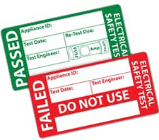 Sample labels used to label equipment after PAT Testing in Coventry