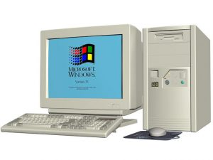 An old PC with an old Windows 3.1 startup screen