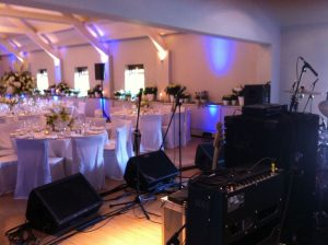 Band PA setup in a wedding venue